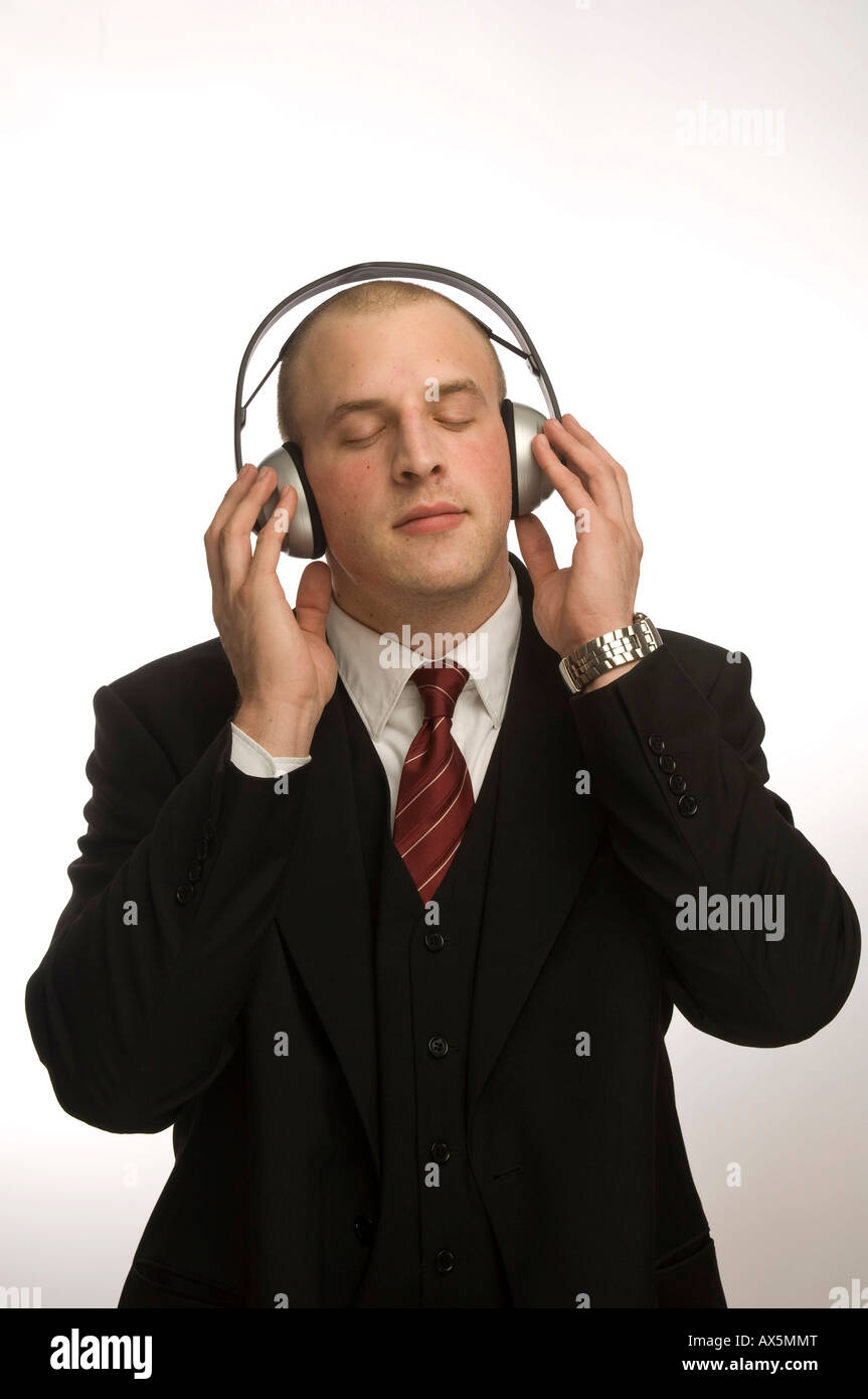 Young man with headphones - Stock Image