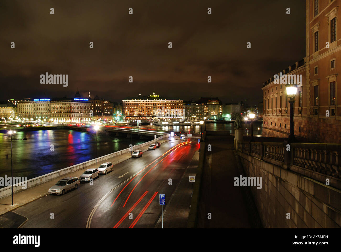 Nighttime view of Blasieholmen and the Grand Hotel in Stockholm, Sweden, Scandinavia, Europe - Stock Image