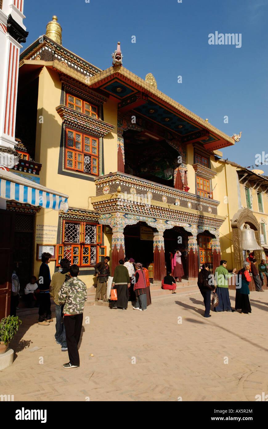 Buddhist stupa of Bodhnath (Boudha), Kathmandu, Nepal - Stock Image