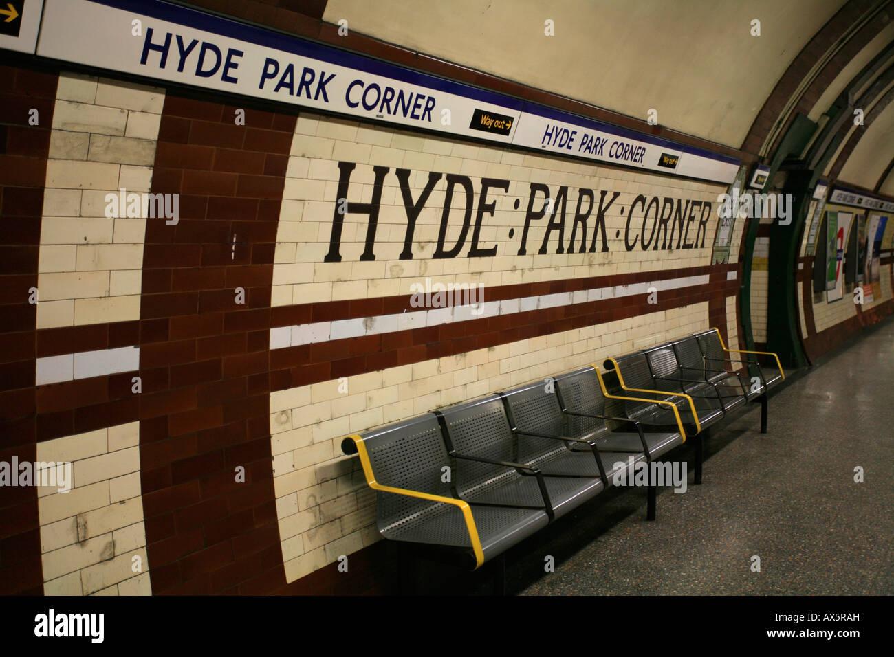 Hyde Park Corner tiles, tube sign and underground station, London, England, UK, Europe - Stock Image