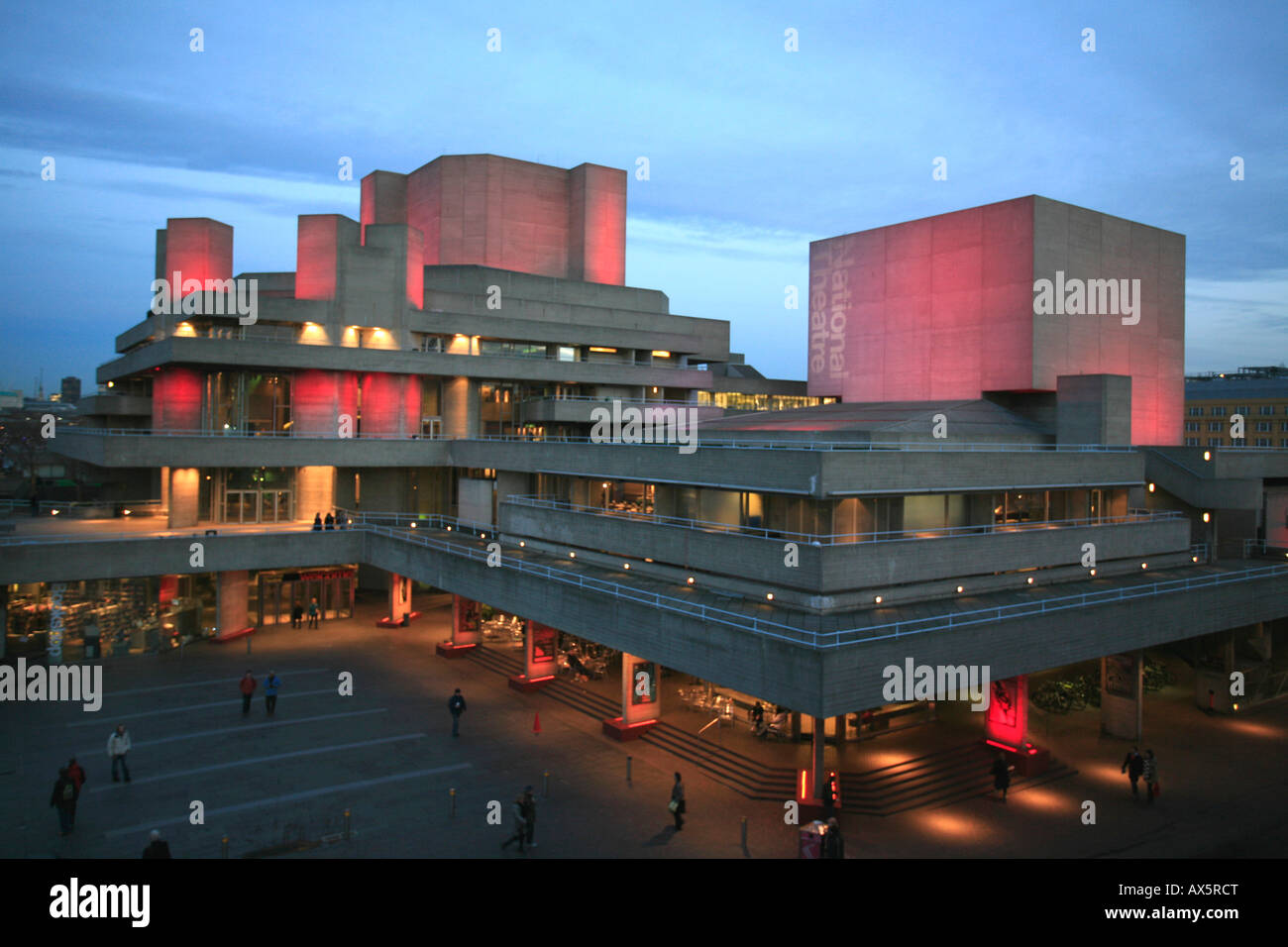 National Theatre on the shore of the Thames River, London, England, UK, Europe - Stock Image