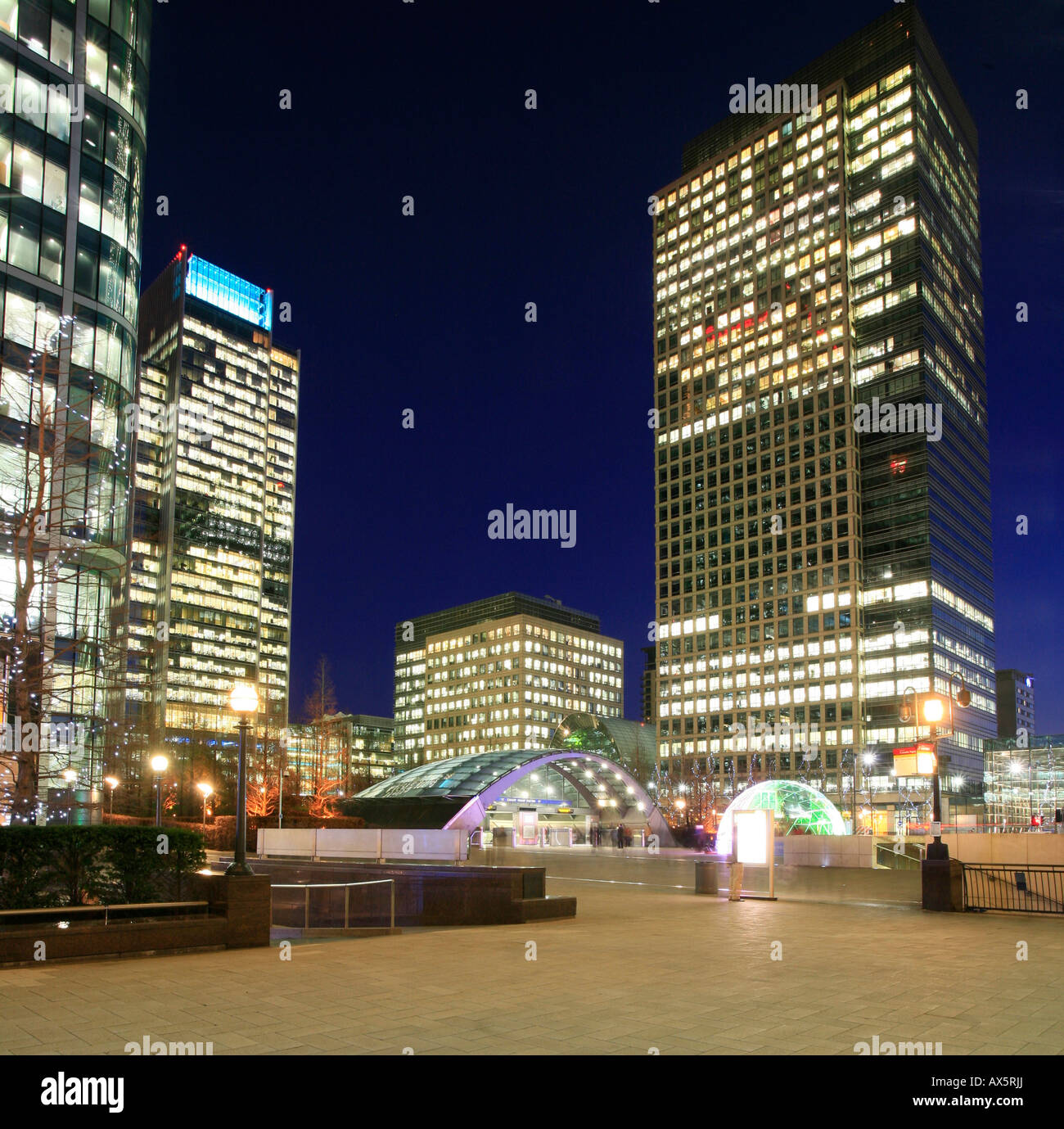 Canary Wharf and Canada Square, entry to underground station and skyscrapers at London's Docklands, London, England, Stock Photo