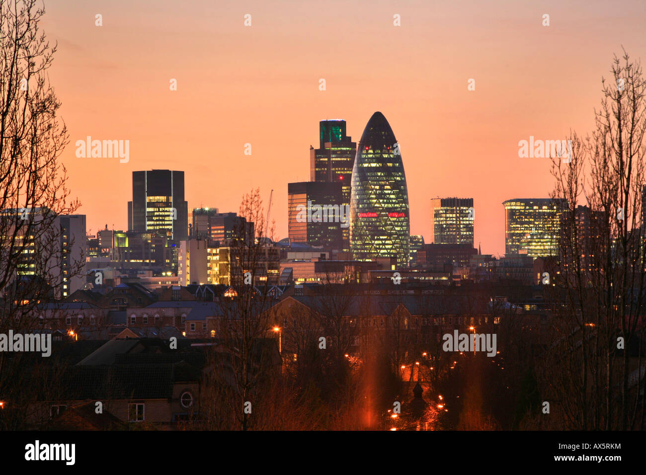 City of London skyscrapers with Swiss Re Tower as seen from Docklands Hill, Canada Waters, Docklands, London, England, - Stock Image