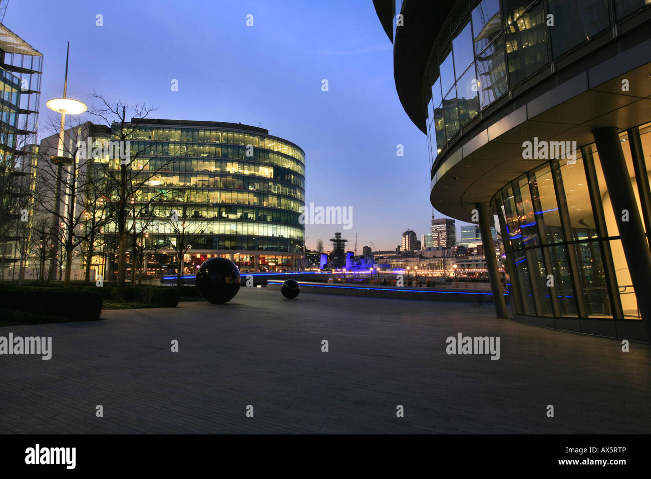 City Hall, designed by Norman Foster, seat of the Greater London Authority and the Mayor of London, and the The - Stock Image