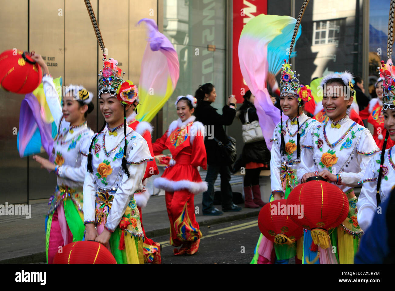Colourful costumes, Chinese New Year procession in downtown London on February 10, 2008, London, England, UK, Europe - Stock Image