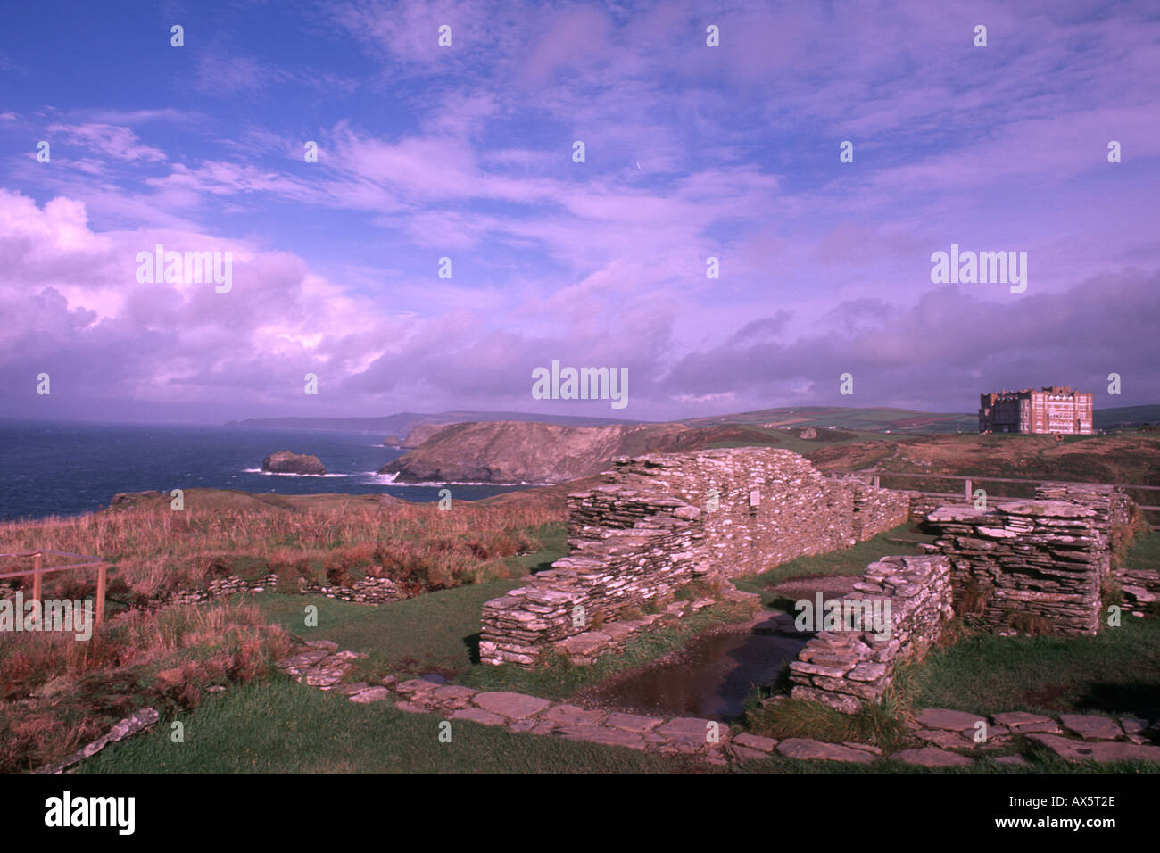 King Arthurs home Tintagel Castle in Cornwall England - Stock Image