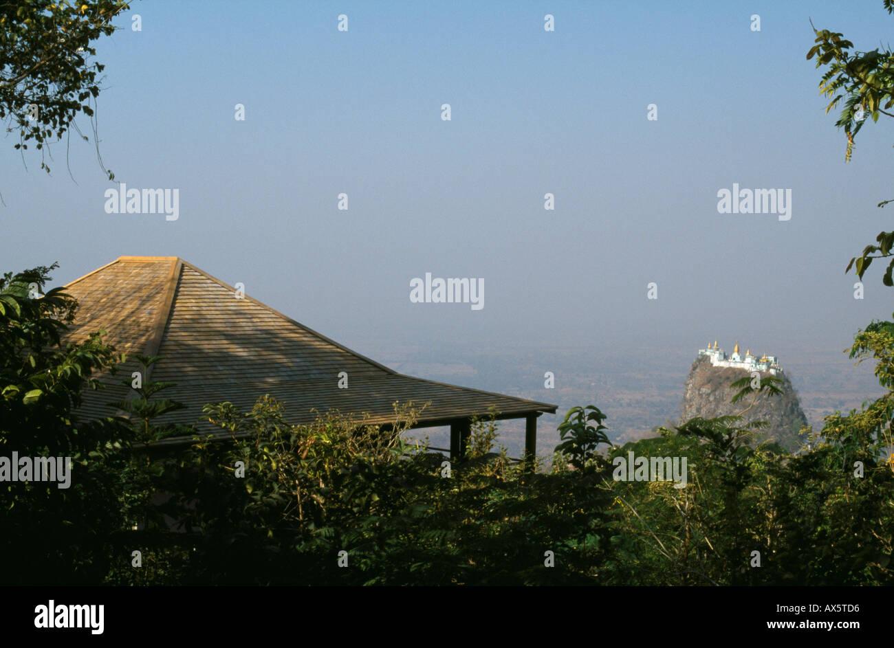mount popa in myanmar, viewed from the popa mountain resort hotel