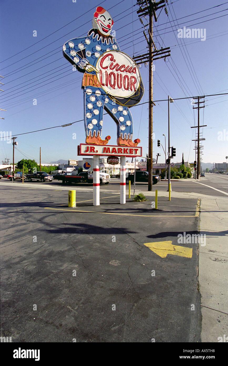 North Hollywood Circus Liquor CA Clown Jr Market Old Photo