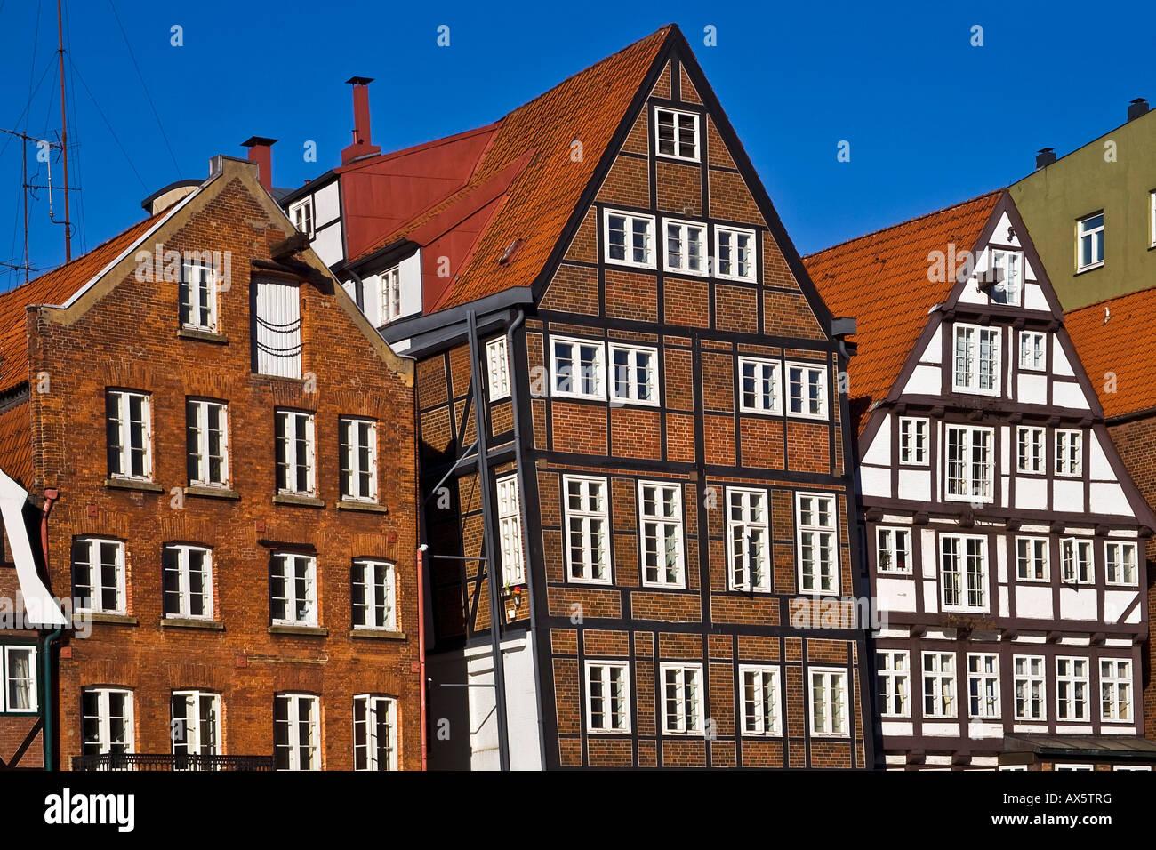 Historic timber-framed houses in Hamburg, Deichstrasse, Nikolaifleet, Altstadt district, Hamburg, Germany, Europe - Stock Image