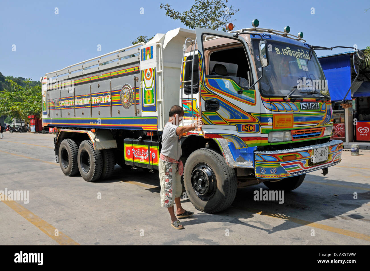 Colourfully painted truck koh chang thailand southeast asia asia stock