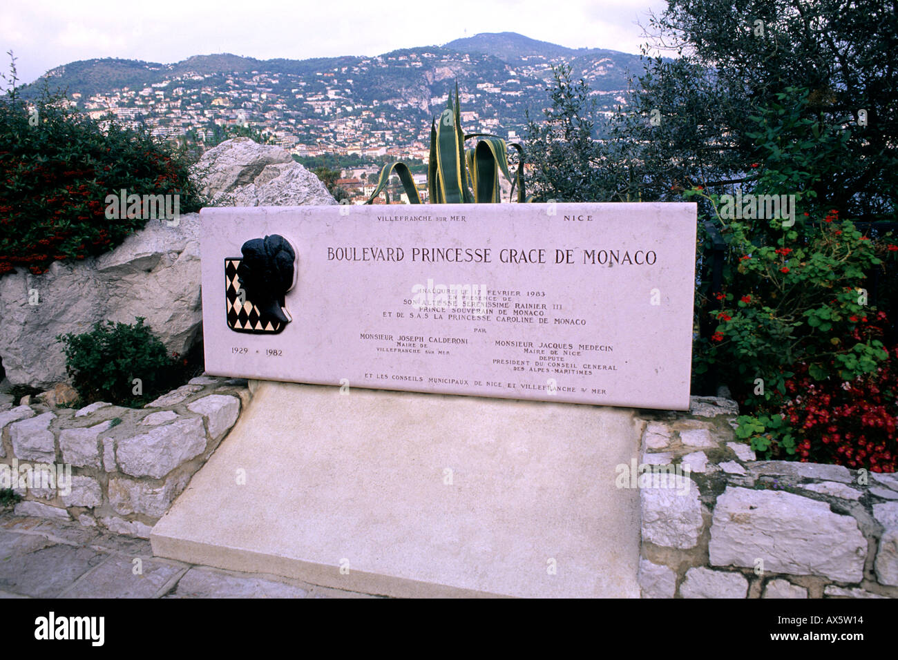 Monaco monument to Royalty in death of Princess Grace Kelly in Monaco - Stock Image