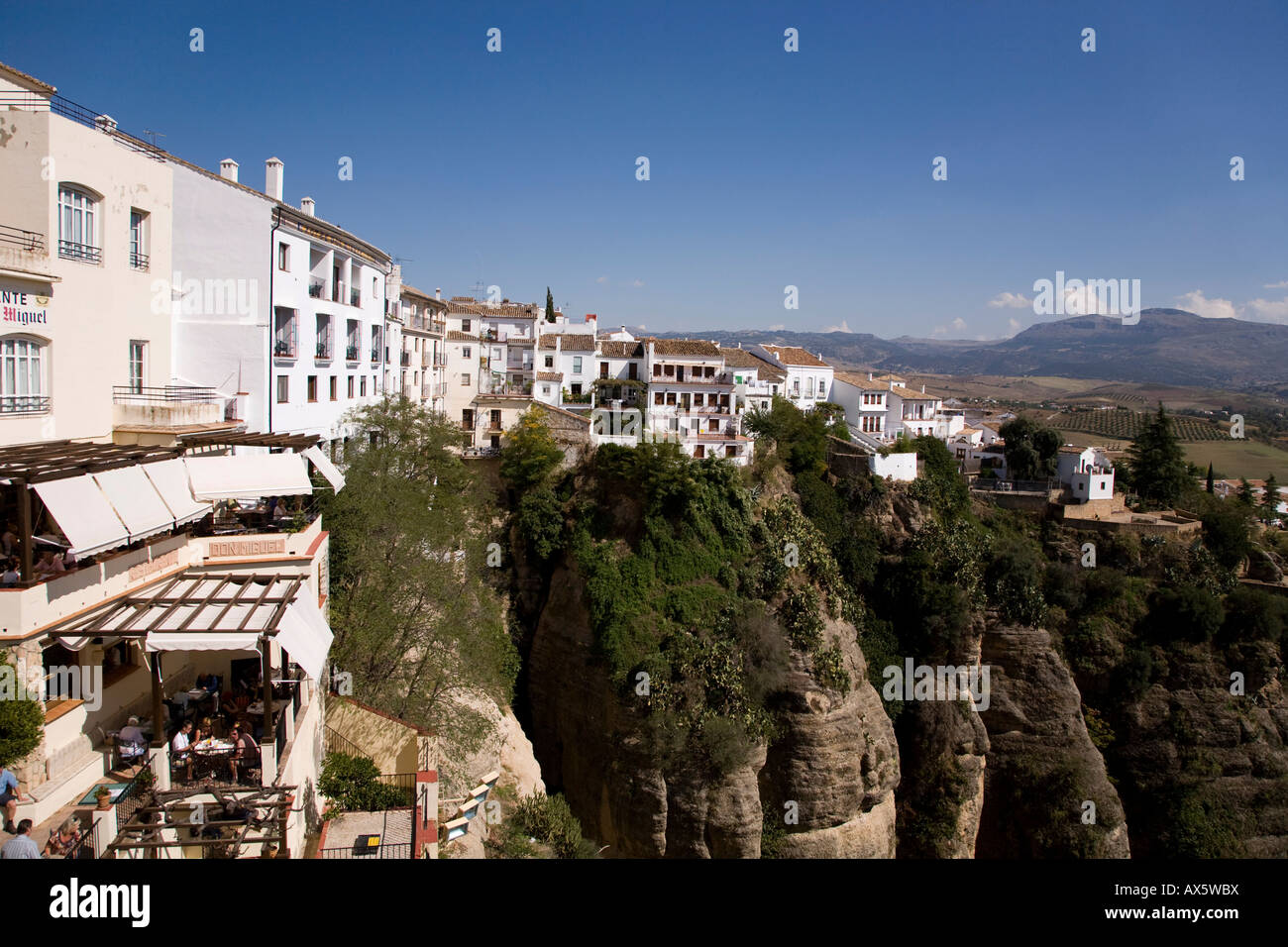 Old part of the town of Ronda atop a plateau in the Serrania de Ronda, Andalusia, Spain, Europe - Stock Image