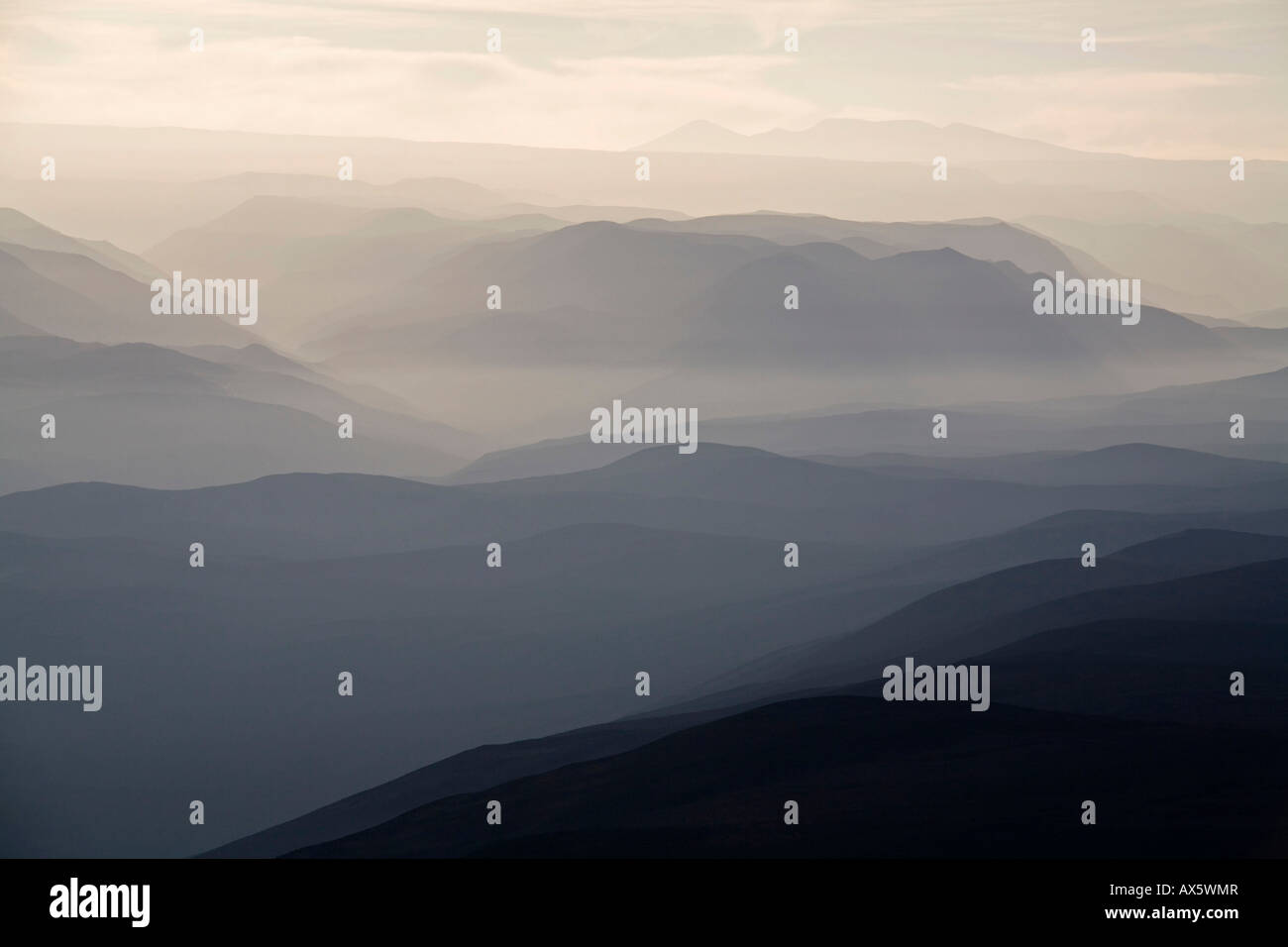 Morning vibe with fog at the Andes, North from Chile, South America - Stock Image