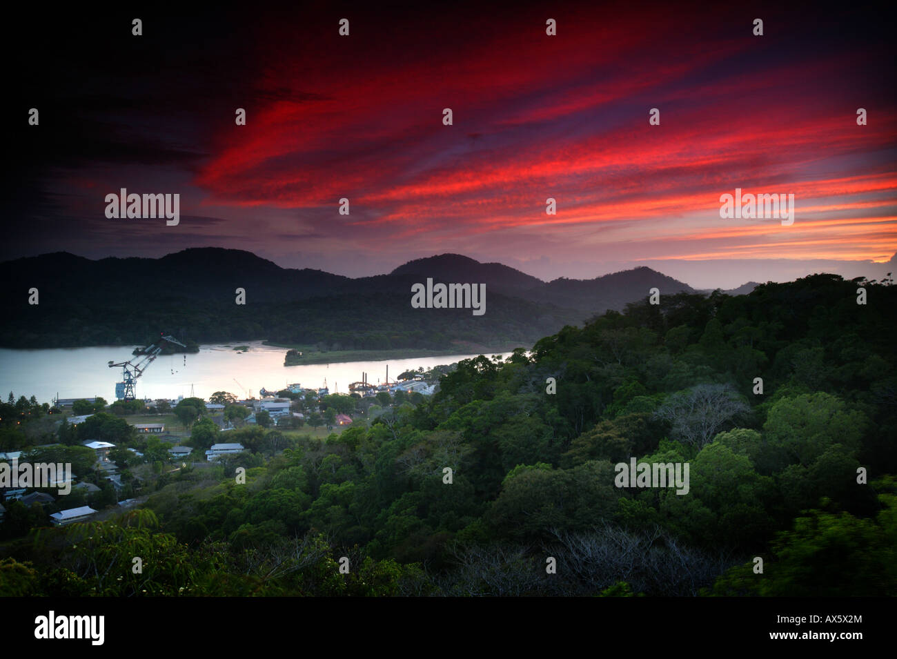 Beautiful sunset at the town of Gamboa, and the Panama canal, Colon province, Republic of Panama. Seen from the - Stock Image