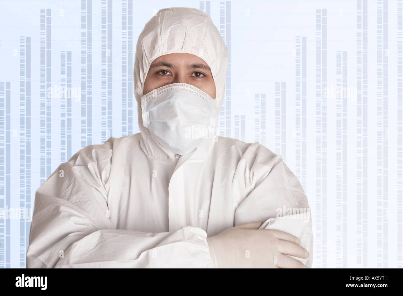 Chemist and DNA information Stock Photo
