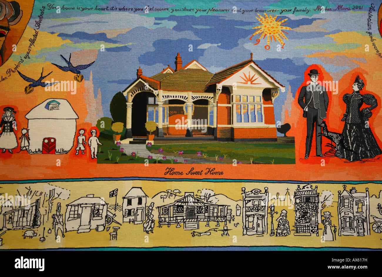 Modern Australian History Tapestry Melbourne Museum Australia - Stock Image