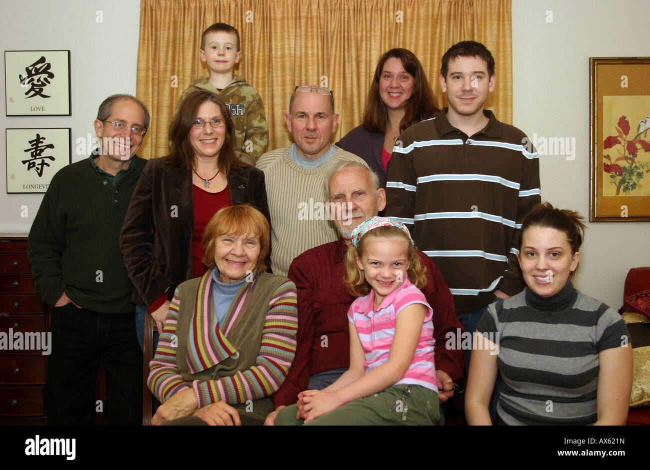family gathering showing the generations - Stock Image