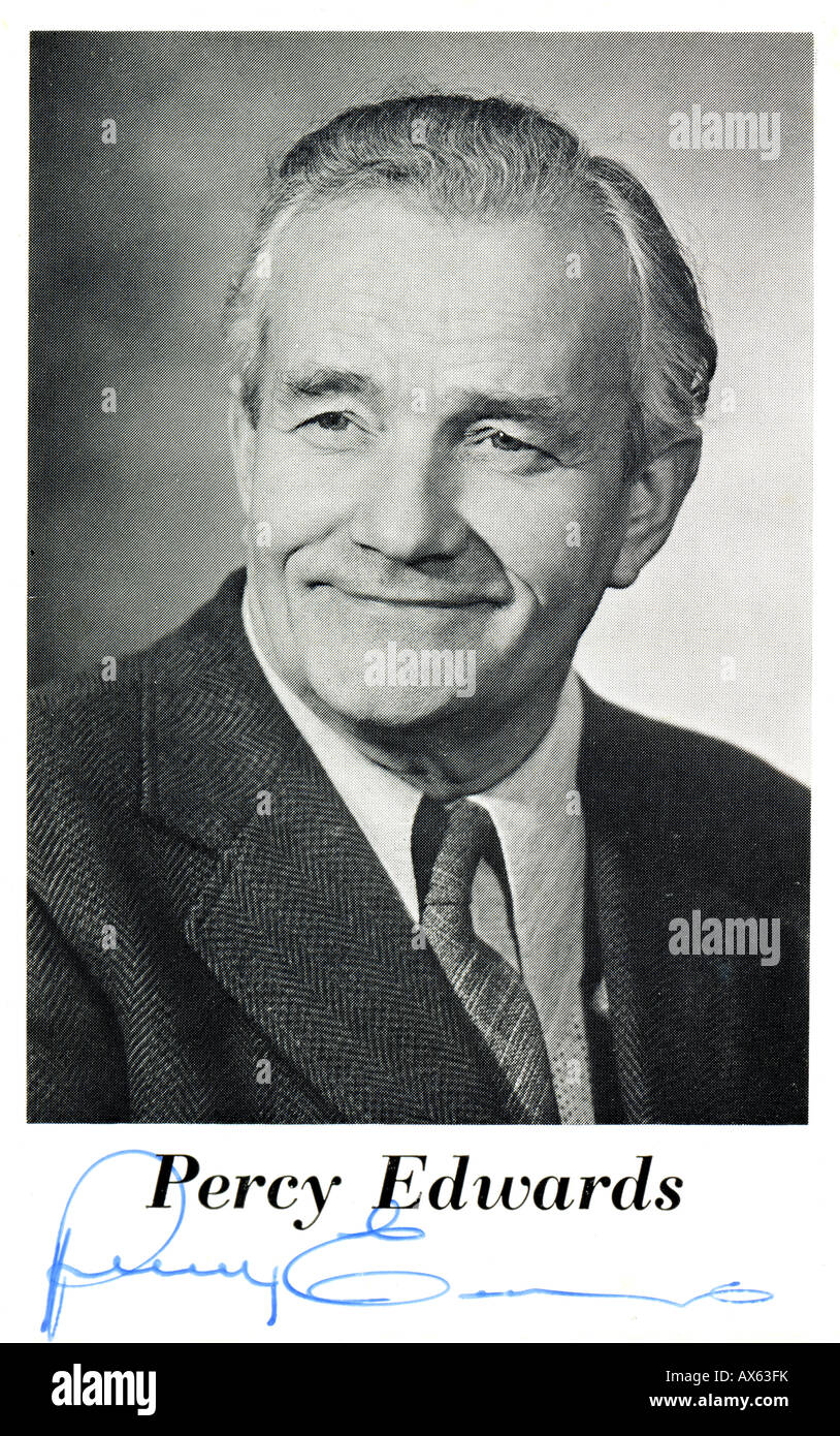 Percy Edwards Autograph Card FOR EDITOTIAL USE ONLY - Stock Image