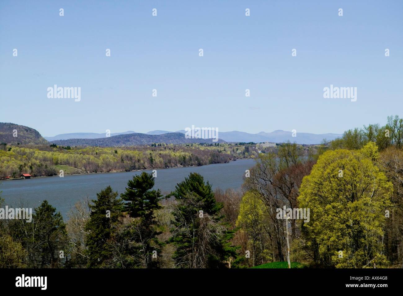 View of Hudson River from Vanderbilt mansion grounds Hyde Park New York - Stock Image