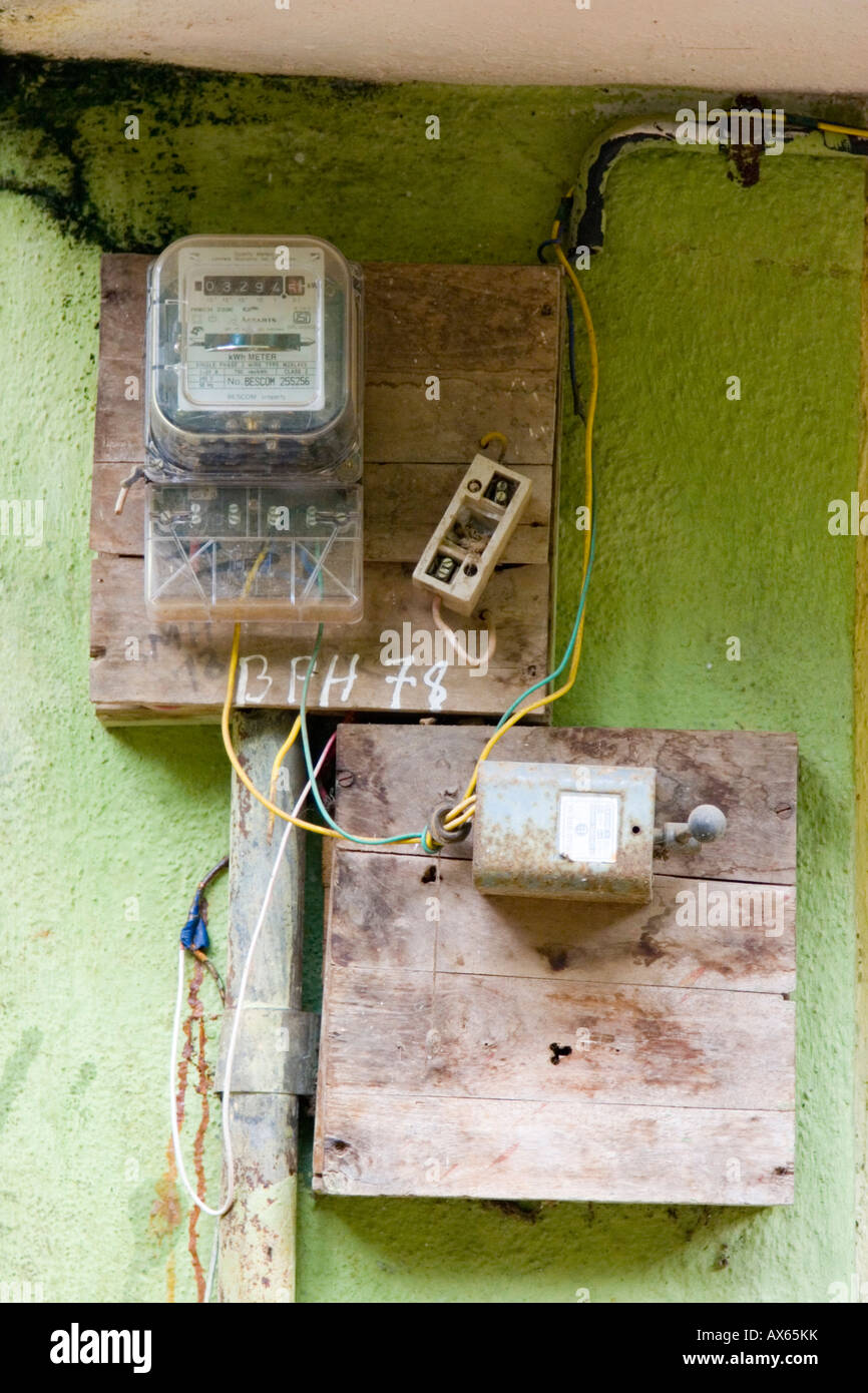 Old Electricity Junction Box Stock Photos Home Wiring Dangerous Looking Electrical On Wall Of Indian House Image