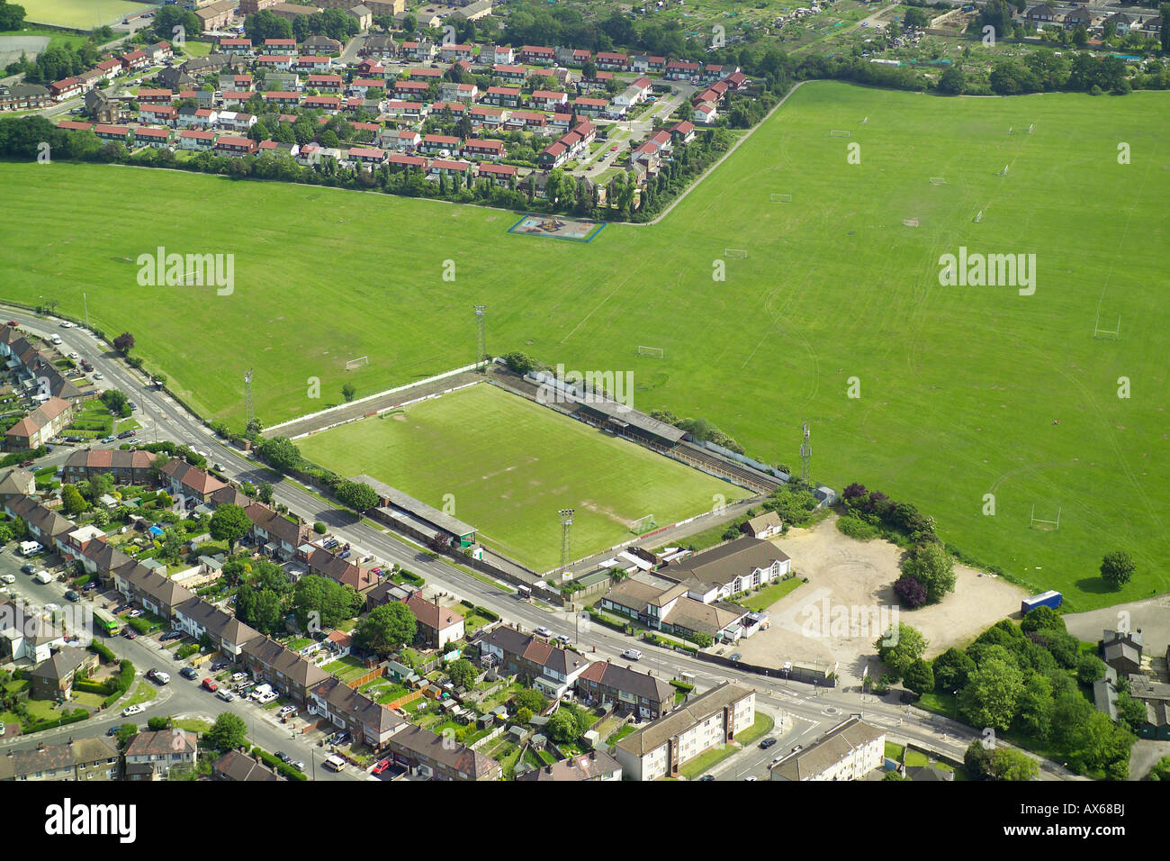 Aerial view of Hendon Football Club, also known as the Loot Stadium on the Clitterhouse Playing Fields in Brent Stock Photo