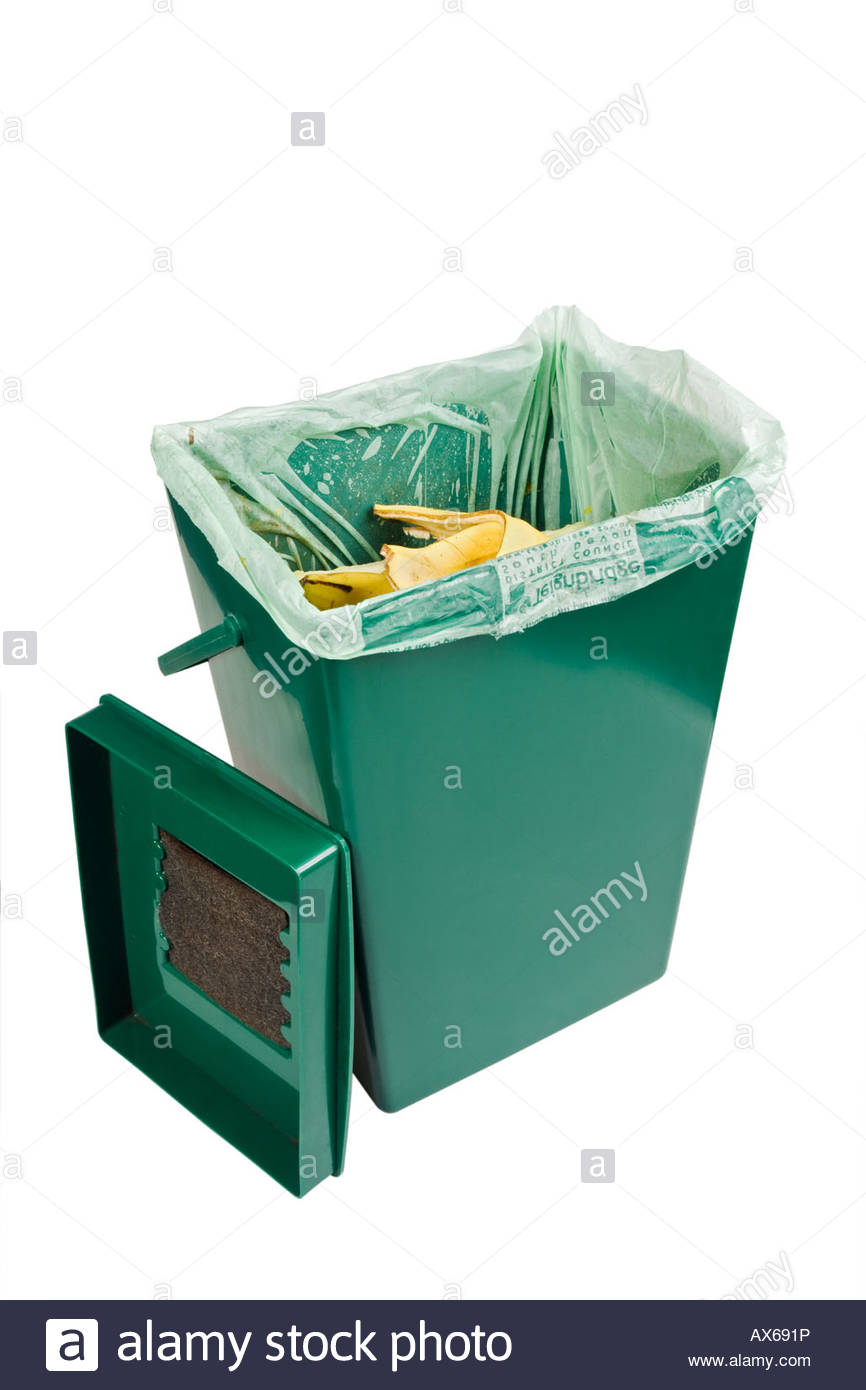 Kitchen waste recycling bin. Bin is lined with a corn starch liner ...