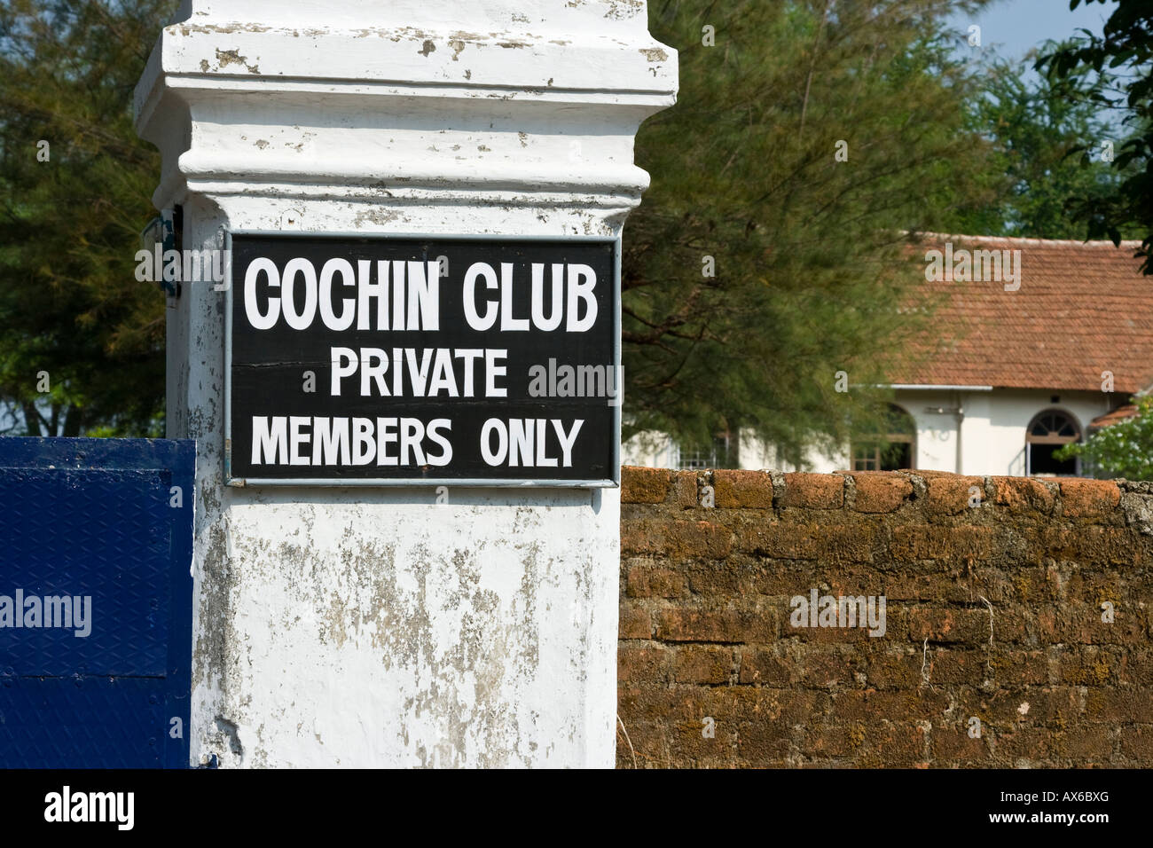 Cochin Members Only Private Club in Cochin India - Stock Image