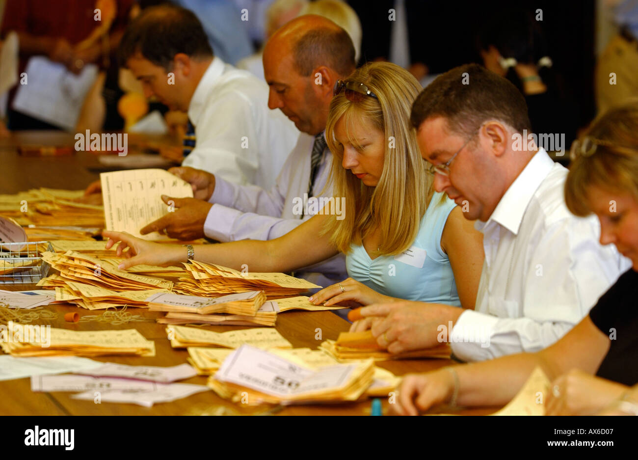 Counting of ballot papers during a political election in Britain UK - Stock Image