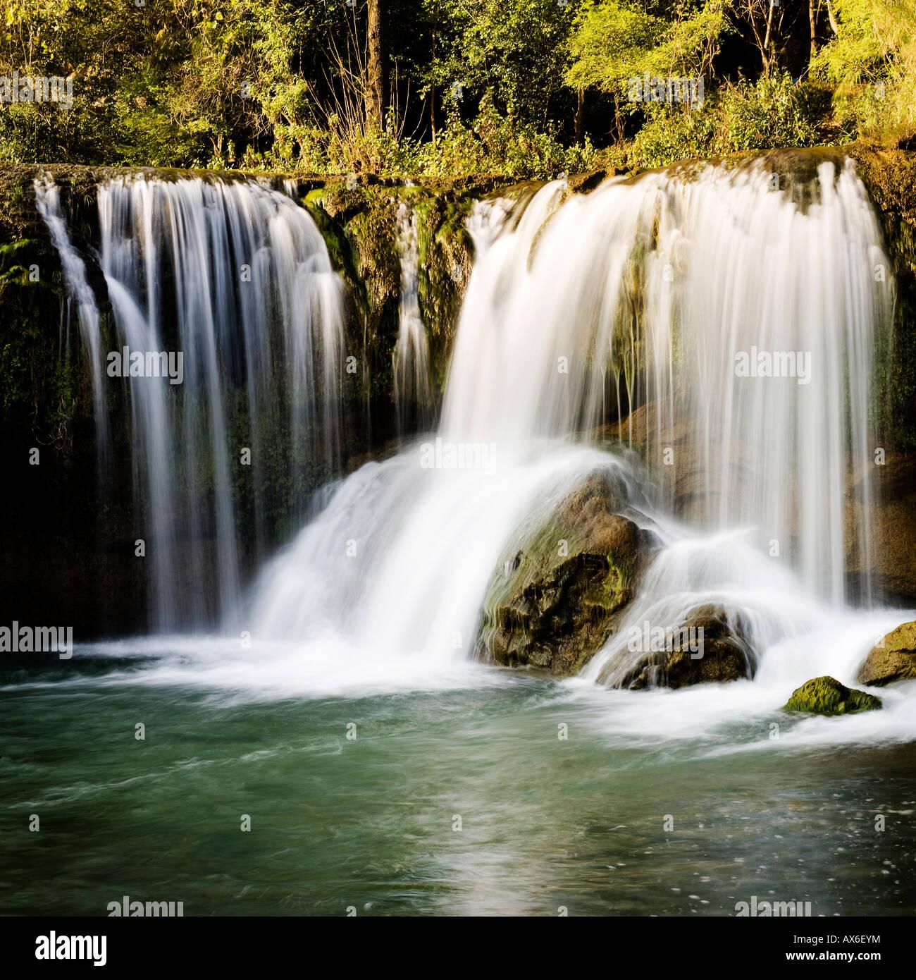 Lower cascades of Jiulong (Nine Dragons) waterfall Yunnan, China - Stock Image