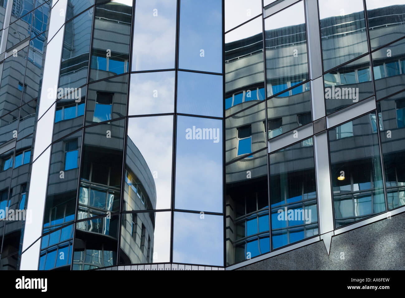 Reflexion on the parliament buildings in Brussels Belgium - Stock Image