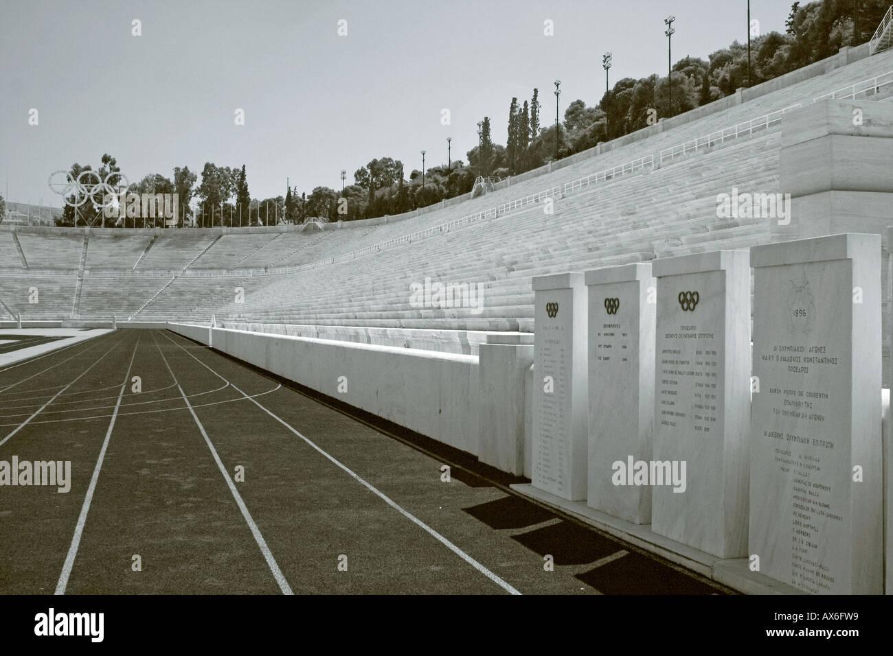 Panathinaikon Kalimarmara Stadium 1896 Olympic site in black and white Stock Photo