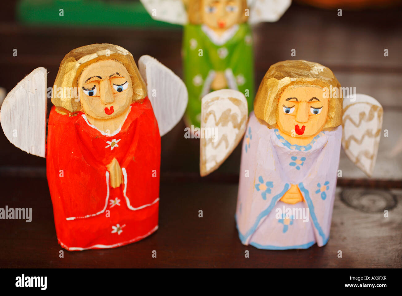 Wooden Angels Polish Souvenirs For Sale Olsztyn Poland Stock