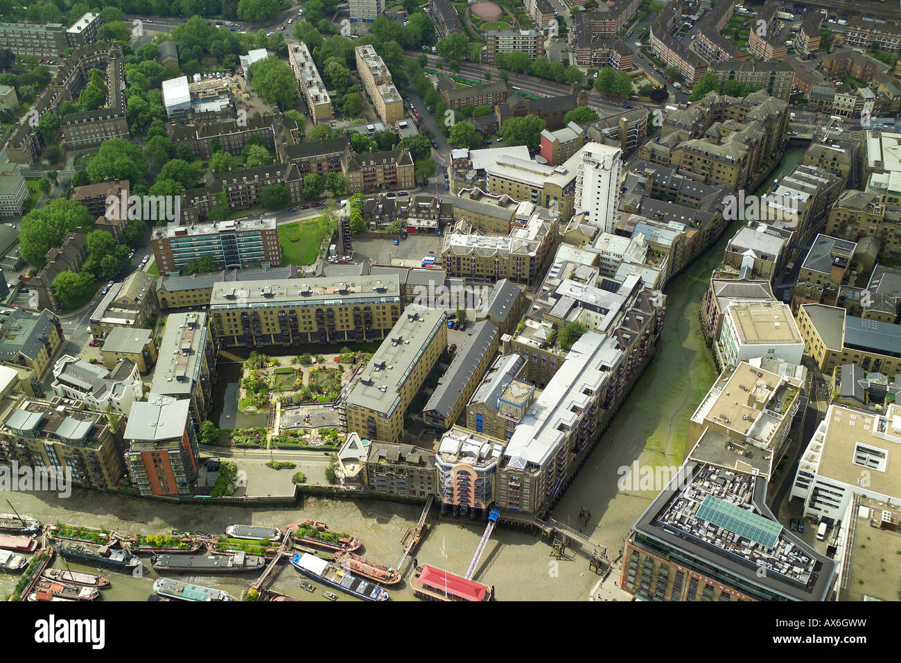 Aerial view of the Shad Thames in the Upper Pool area of London the River Thames near Tower Bridge Stock Photo