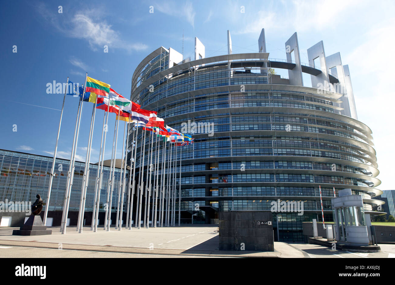 Flags in front of government building, European Parliament, Strasbourg, Alsace, France - Stock Image