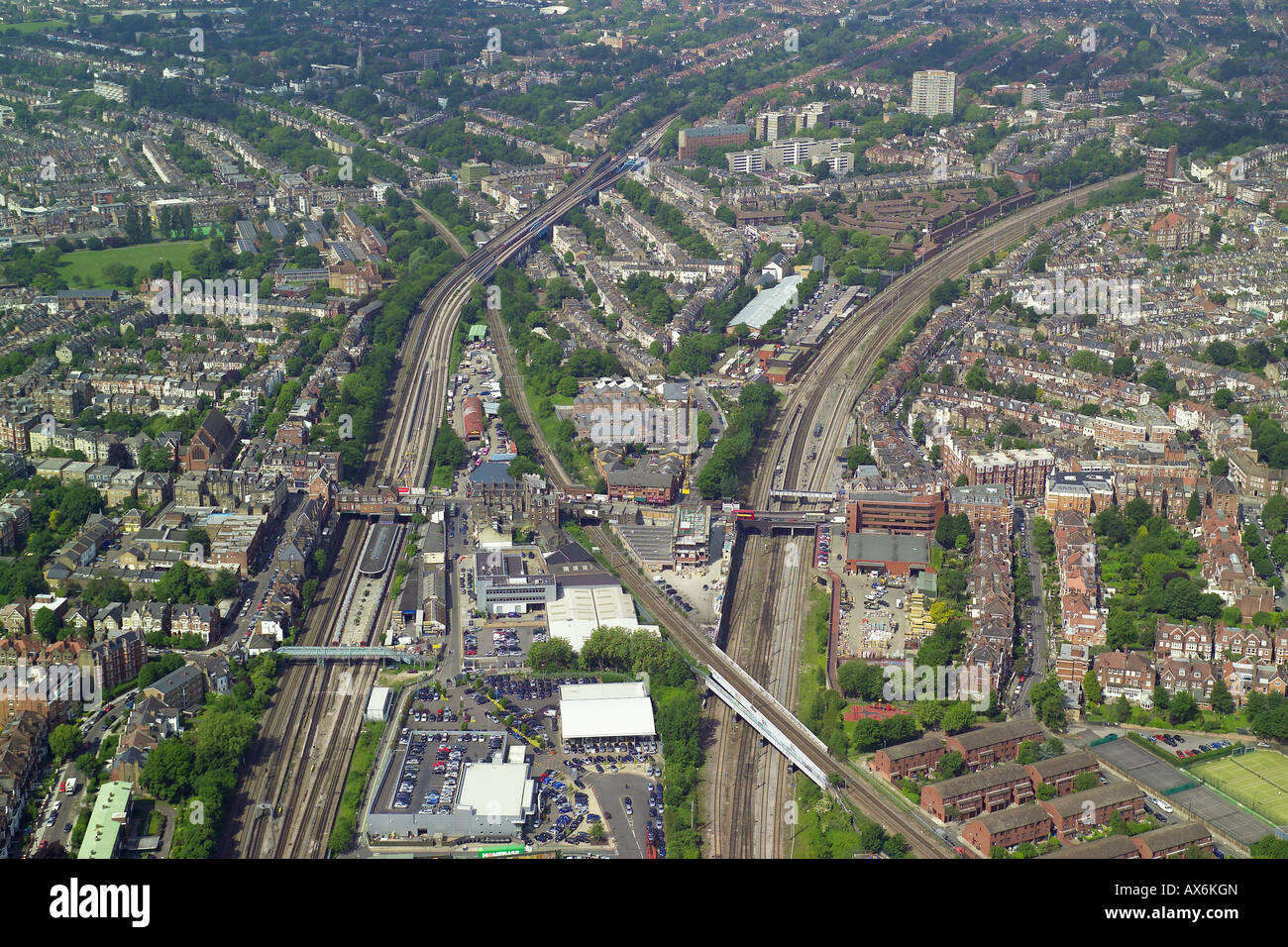 Aerial view of West Hampstead Tube and Mainline Rail Stations in North London Stock Photo