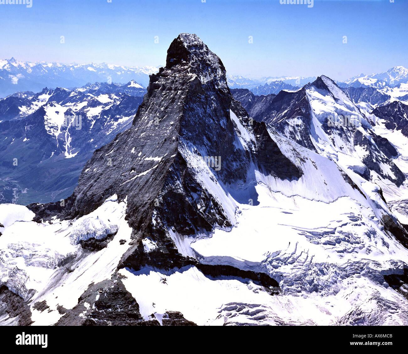 CH - VALAIS:  The Matterhorn from the air - Stock Image