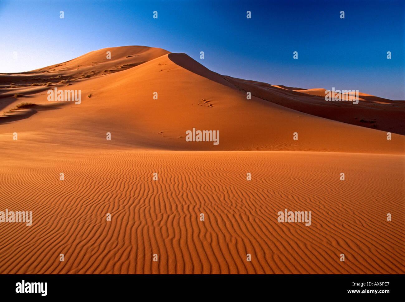 sand dune, sand dunes, Erg Chebbi, Sahara Desert, sunrise, dawn, daybreak, landscape, Merzouga, Errachidia Province, Stock Photo