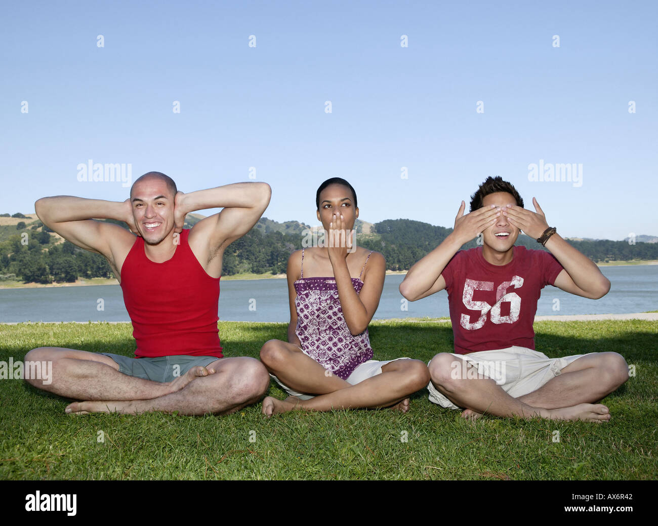 Friends in different poses - Stock Image