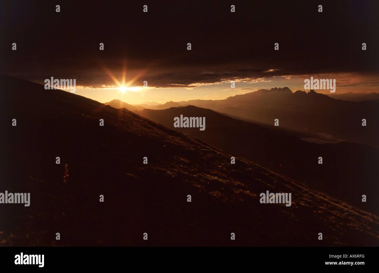 Sunrise over mountains, Osterhorngruppe, St. Koloman, Tennengau, Salzburg, Austria Stock Photo