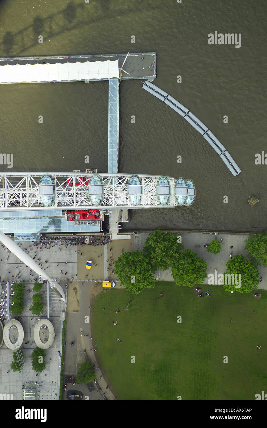 Vertical aerial view of part of the British Airways London Eye on the South Bank of the River Thames in London Stock Photo
