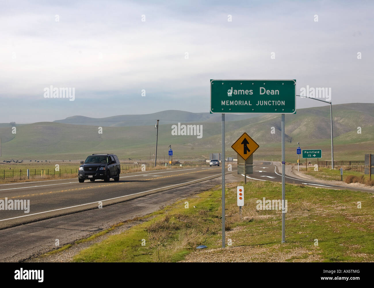Site where the American actor James Dean was killed in a car crash in 1955. - Stock Image