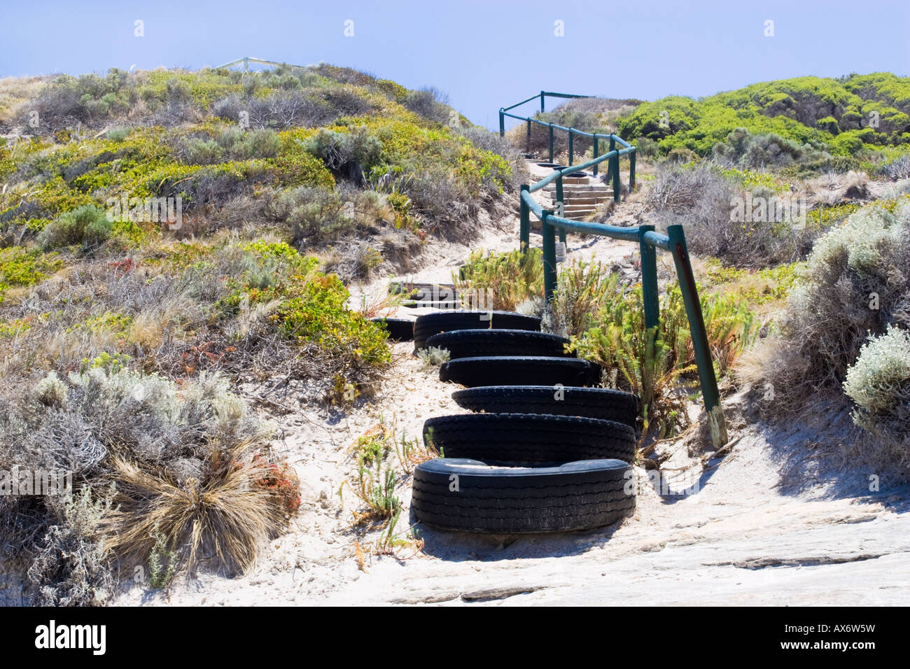 Steps made from old tyres protecting sand dunes from erosion at Observatory Beach in Esperance, Western Australia - Stock Image