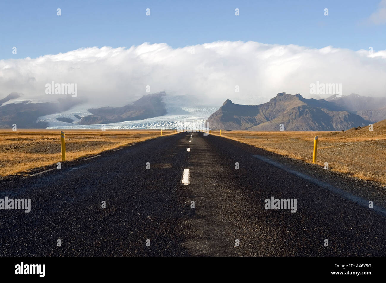 Road to nowhere; desolate Route 1, or the Ring Road, in the Skaftafell National Park area iceland Stock Photo
