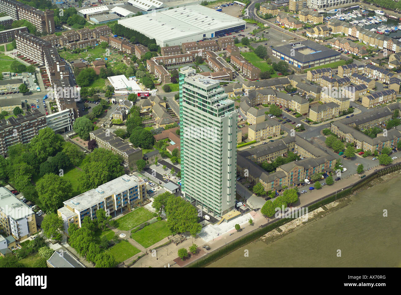Aerial view of the Aragon Tower overlooking the River Thames in Deptford, London Stock Photo