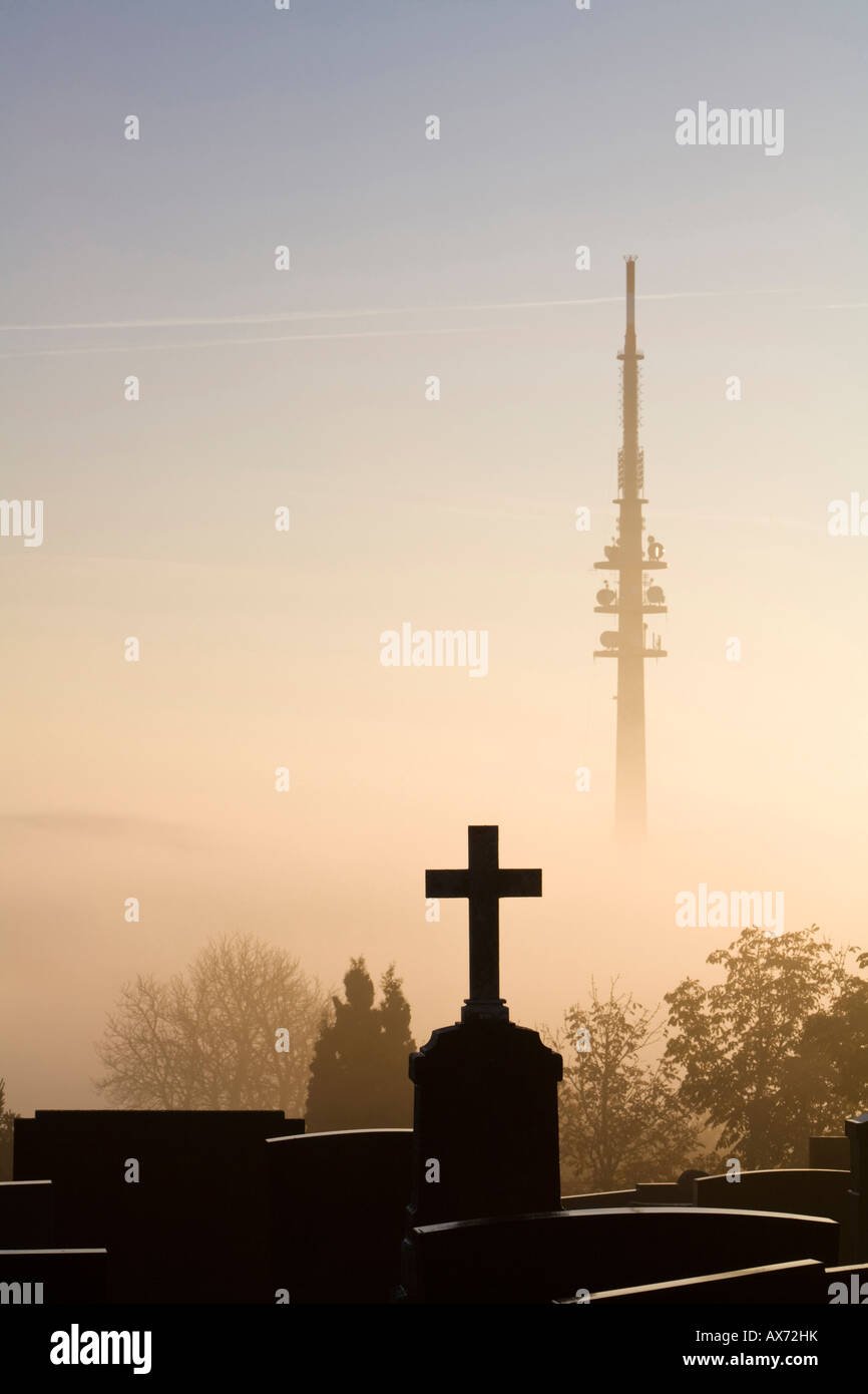 Germany, Bavaria, Hohenpeißenberg, Grave yard in front of TV Tower Stock Photo