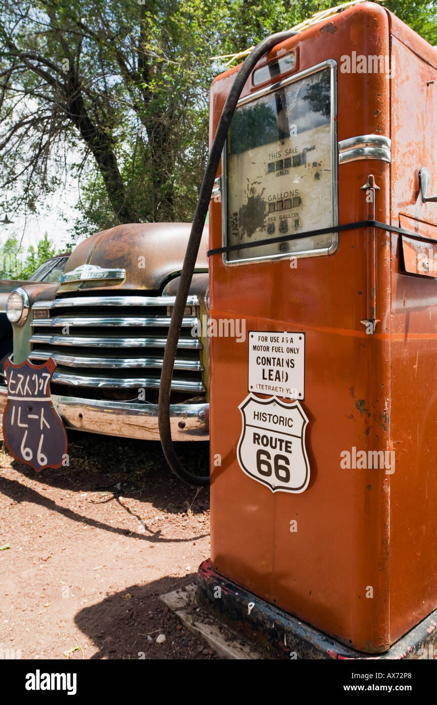Old Gas Pump and classic Ford truck, Seligman, Route 66, Arizona ...