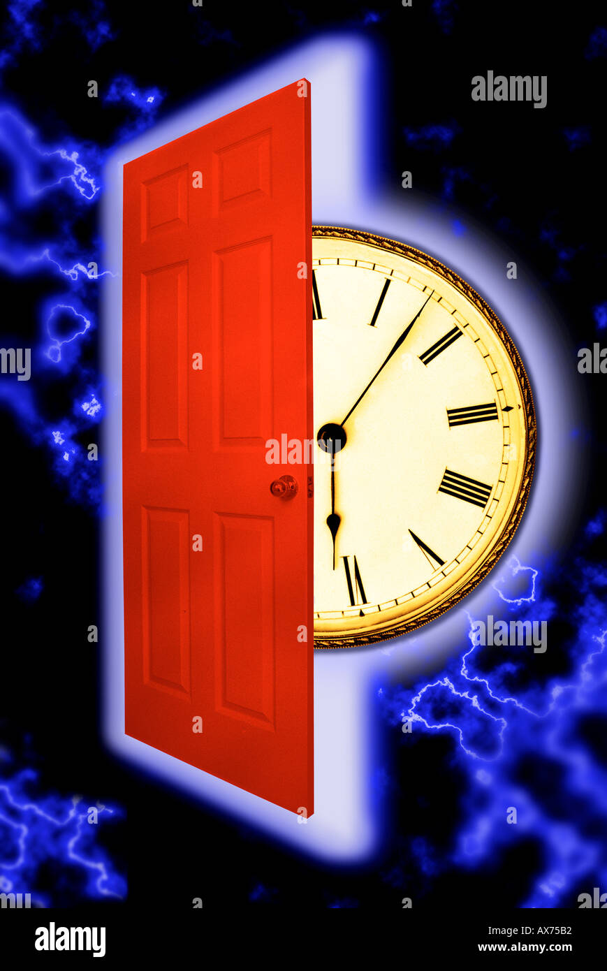 Clock and red door floating in space : floating door - pezcame.com