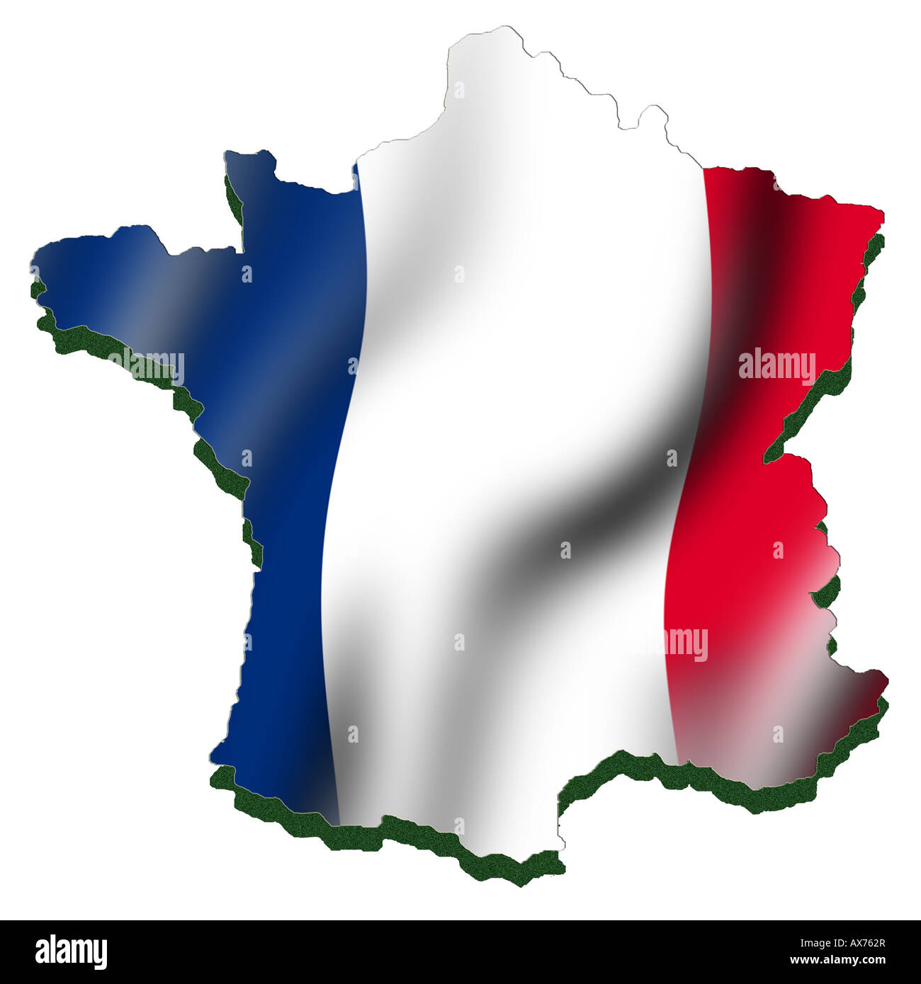Outline map and flag of France - Stock Image