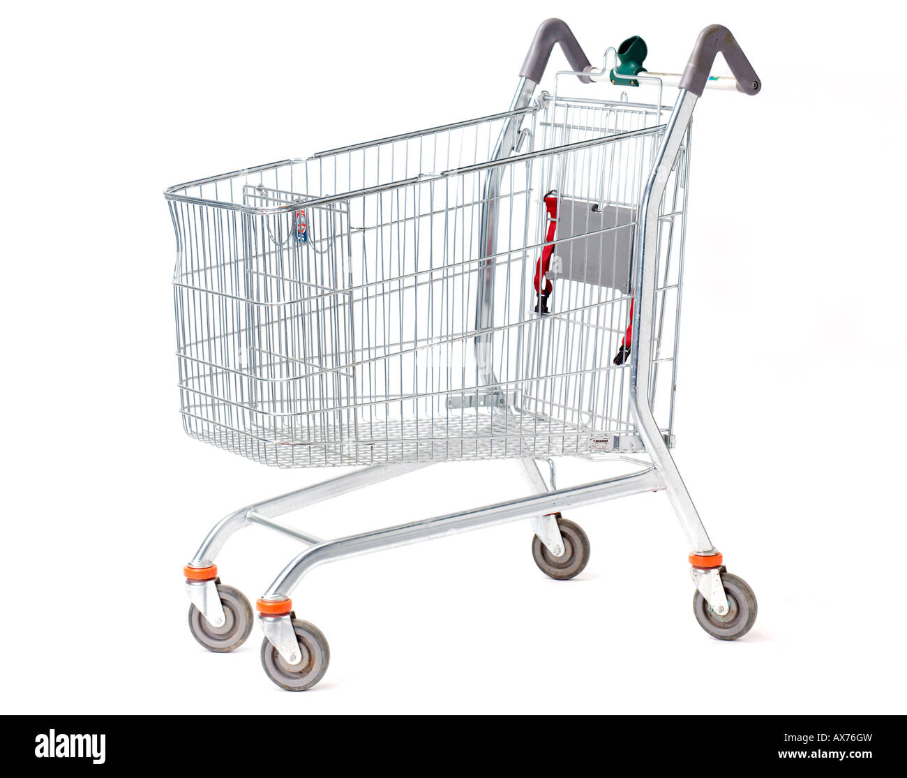 Shopping Trolley trolly On White Background - Stock Image