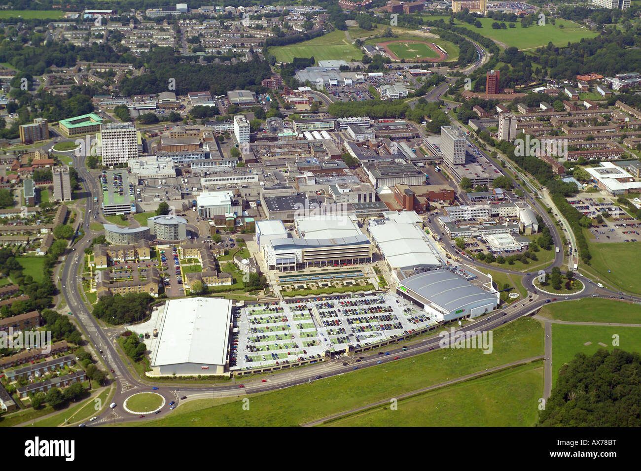 Aerial view of Harlow Town Centre featuring the shopping centre, offices and public buildings Stock Photo